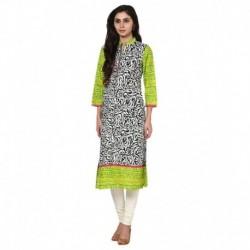 Prakhya Green Cotton Straight Kurti