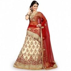 Lakshat Fashion Beige Net Semi Stitched Lehenga