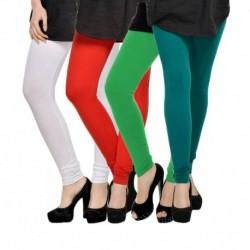 Elevate Women Multicoloured Lycra Leggings - Pack Of 4