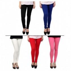 Stylobby Multicoloured Pack of 5 Cotton Lycra Leggings