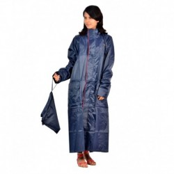 Blue Polyester Full Sleeve Long Raincoat
