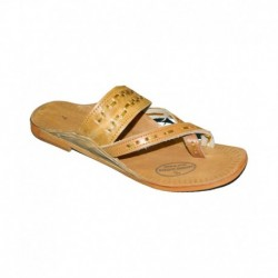 Kolapuri Centre Tan Pure Leather Festive Kolhapuri Rubber Sole