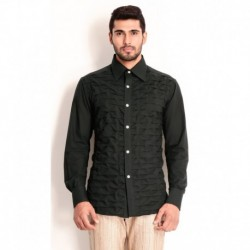 Samant Chauhan Black Cotton Shirt with Layered Textured front