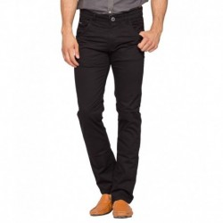 Spykar Black Slim Fit Trousers