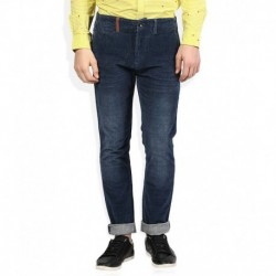 United Colors of Benetton Navy Blue Solid Flat Front Trousers