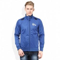 Lee Blue Solid Zippered Sweatshirt