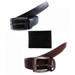 Elligator Stylish Black Self Textured & Brown Formal Belt With Wallet Combo