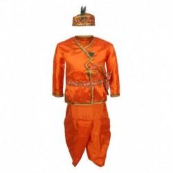 Jazzup Orange Dhoti And Kurta Set