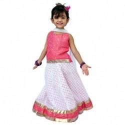 Kilkari White & Pink Cotton Blend Ghaghara Set