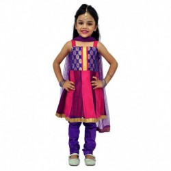 Kilkari Pink and Blue Churidar Kurti with Dupatta