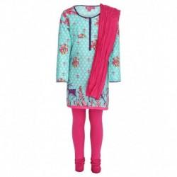 Biba Turquoise & Pink Churidar Kurta With Dupatta