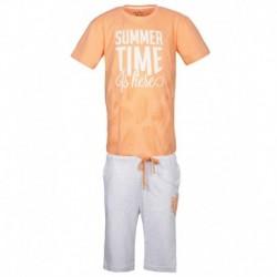 Gini & Jony Orange Printed T-Shirt With Bermuda Shorts