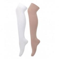 Bonjour White and Beige Knee Length Cotton Socks - 2 Pair Pack