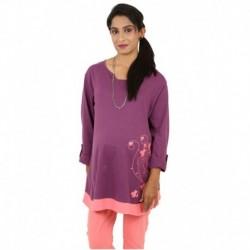 Kriti Western Maternity Purple Cotton Tops