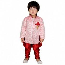 ny Toon Red Synthetic Sherwani